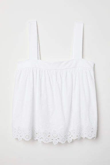 cc1ddf9a66cf6 H amp M Top with Eyelet Embroidery - White H m Tops