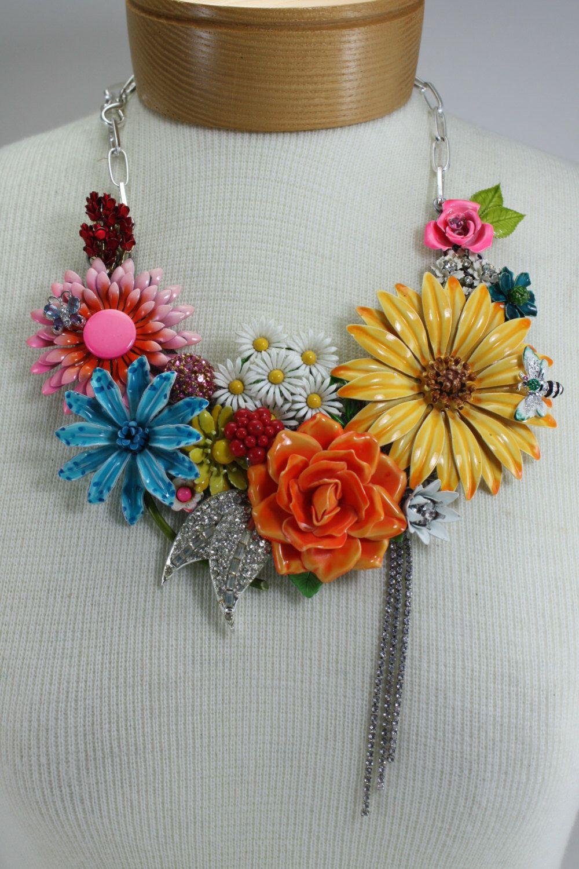 Spring Summer Statement Assemblage Bib Necklace Vintage