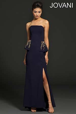 Strapless Purple Evening Dress 98932