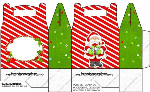 Caixa Surpresa Para Lembrancinha Natal Vermelho E Verde Natal