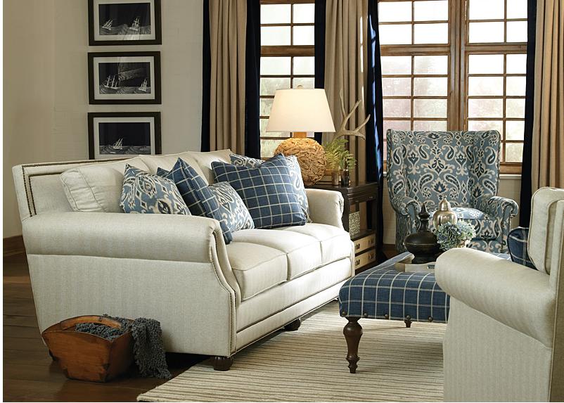 Blue and White Furniture, Sofa, Fabric sofa