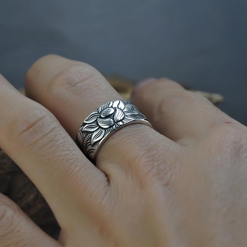 Meditation Jewelry adjustable marcasite ring Sterling Silver Rose Ring for Women