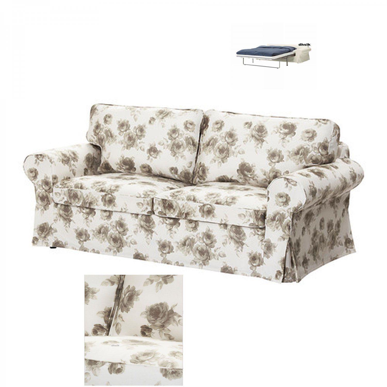 Ikea Ektorp 2 Sitzer Schlafsofa Slipcover Schlafsofa Norlida Beige White Floral In 2020 Ikea Sofa Ikea Ektorp Sofa Bed