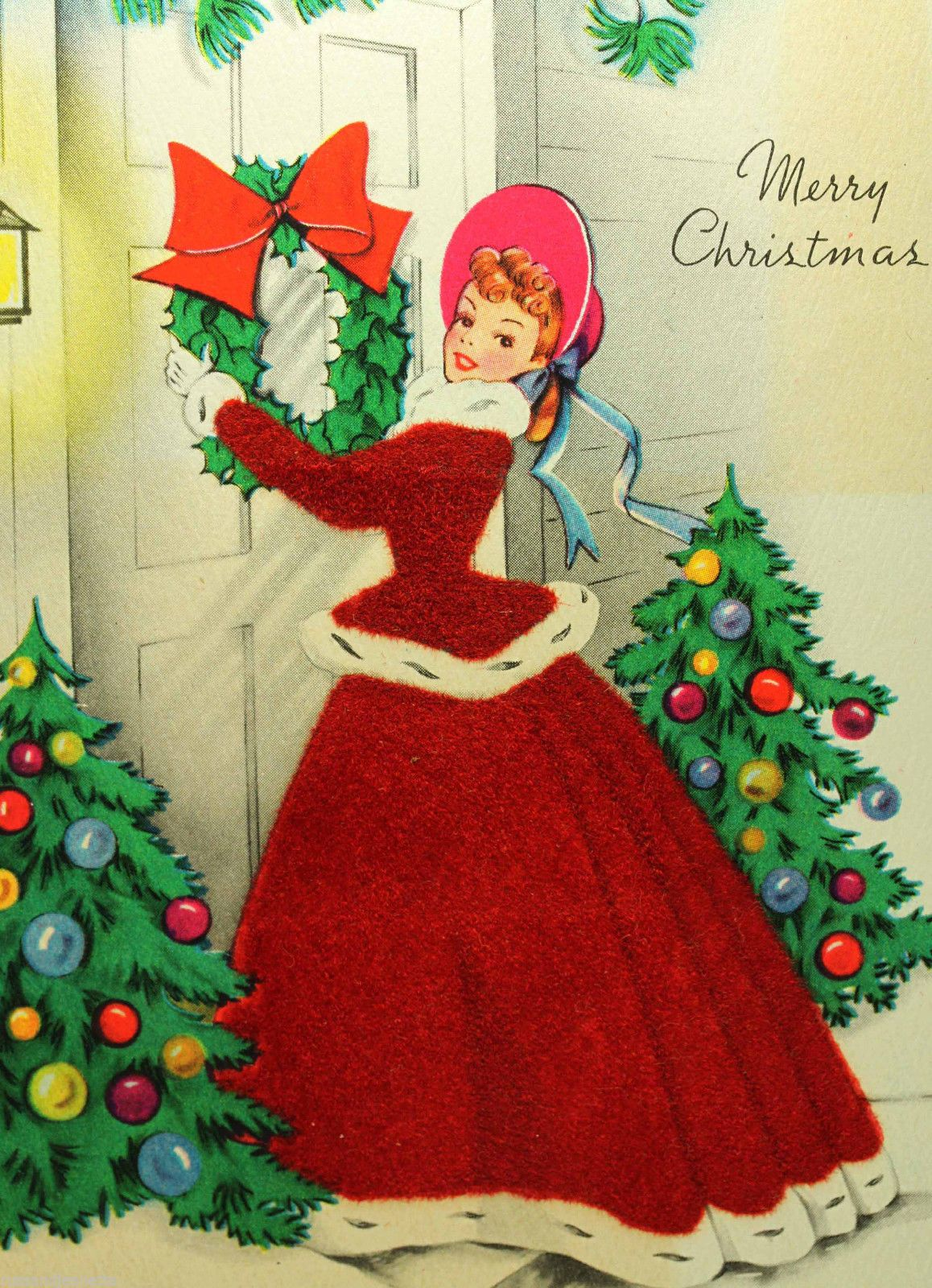 Wreath from old christmas cards - Vintage Christmas Card Used Old Fashioned Pretty Girl Flocked Front Door Wreath In Collectibles Paper