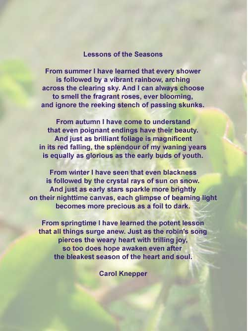 Nature Poems Lessons Of The Season A Nature Poem By Carol