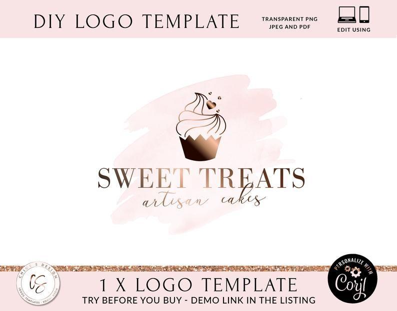 Cupcake Logo Design Watercolor Cake Logo Bakery Logo Baking Etsy In 2021 Cupcake Logo Design Logo Diy Branding Template