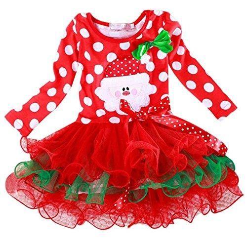 2a77460da Comprar Ofertas de Tefamore Vestido Niña El Tutu bowknot Santa Año Nuevo  Polka Dot de Navidad (busto28cm 2