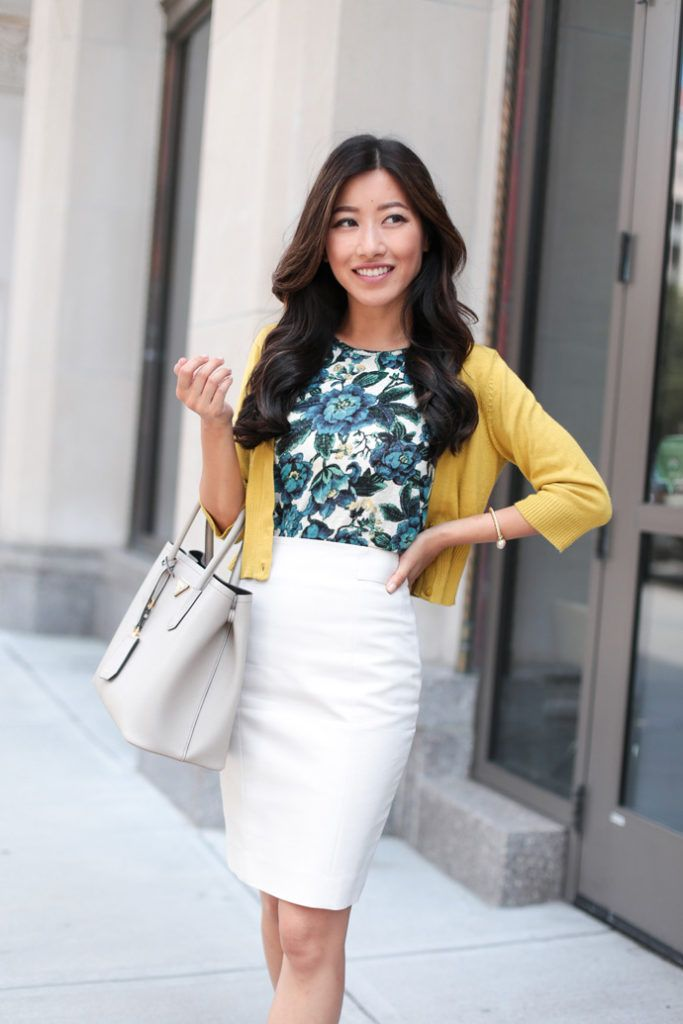 f7657dcbcfe colorful professional outfit for work    floral top + cardigan + pencil  skirt by extra petite fashion blog
