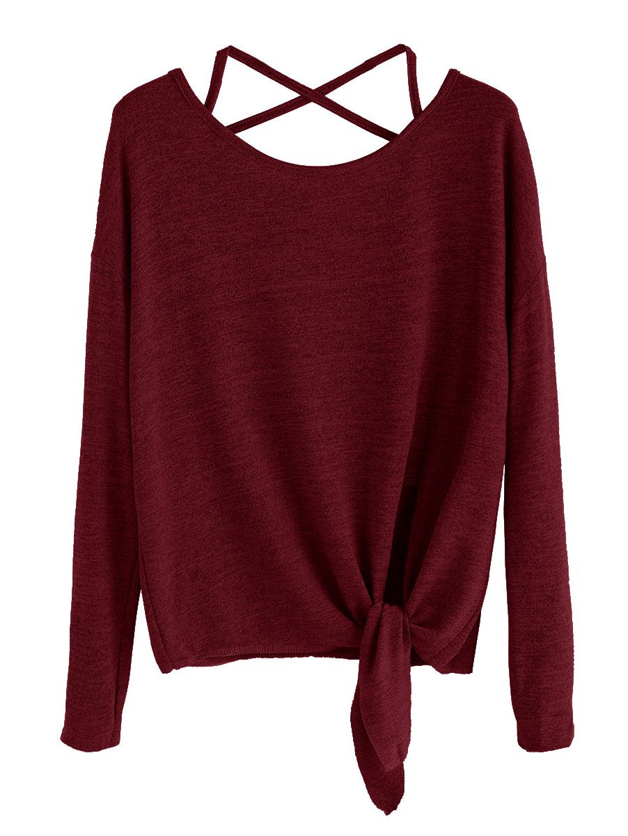 9bf98226b61ca0 Shop Burgundy Drop Shoulder Criss Cross Tie Front T-Shirt online. SheIn  offers Burgundy Drop Shoulder Criss Cross Tie Front T-Shirt   more to fit  your ...