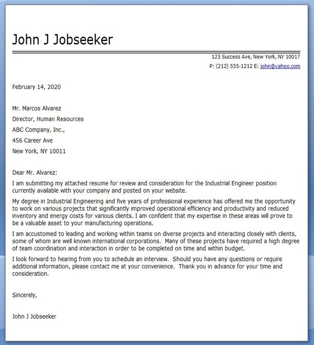 Industrial Engineer Cover Letter Examples Creative