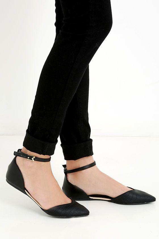 Clubhouse Black Croc Ankle Strap Flats