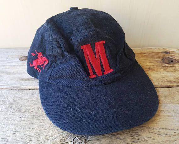 d228c4dfc5c MARLBORO Letter M Vintage 90s Black Strapback Hat Embroidered ...