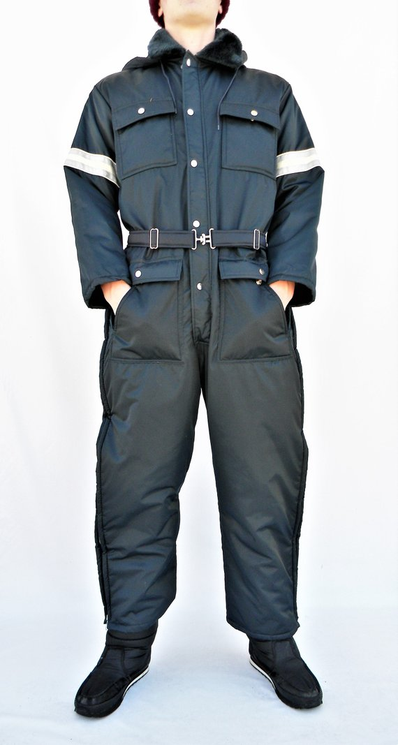 retro vintage mens lg 42 44 short one piece snowmobile on men s insulated coveralls with hood id=95209