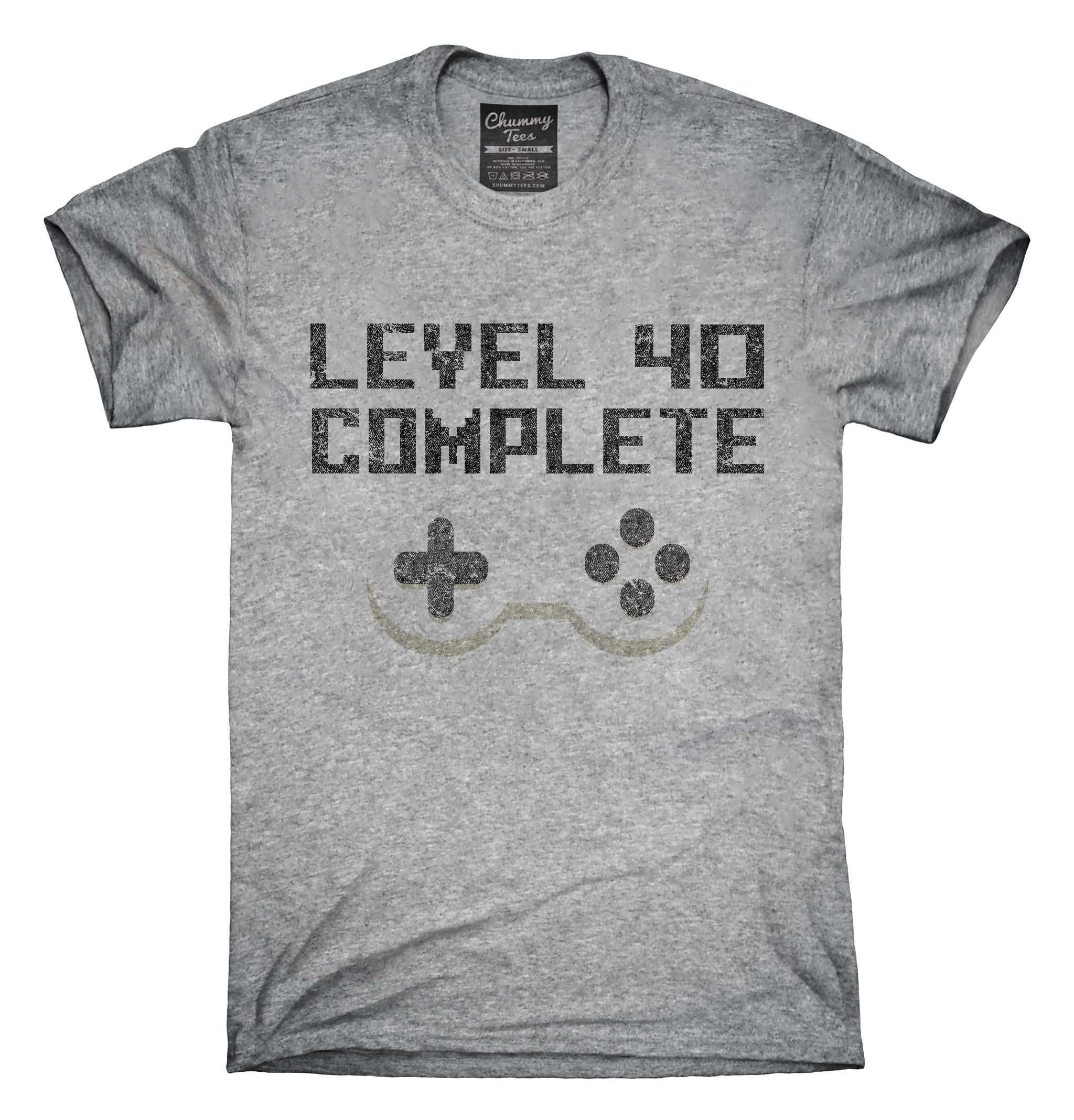 Level 40 Complete Funny Video Game Gamer 40th Birthday T Shirt Hoodie Tank Top