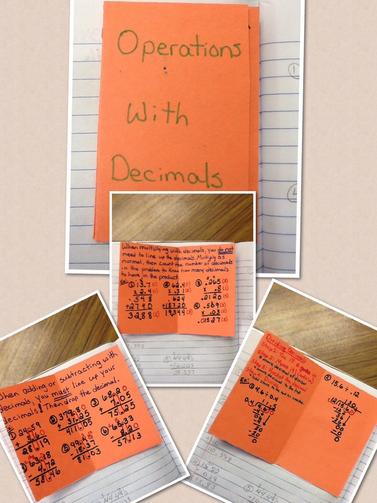 Inside Of Operations With Decimals Foldable