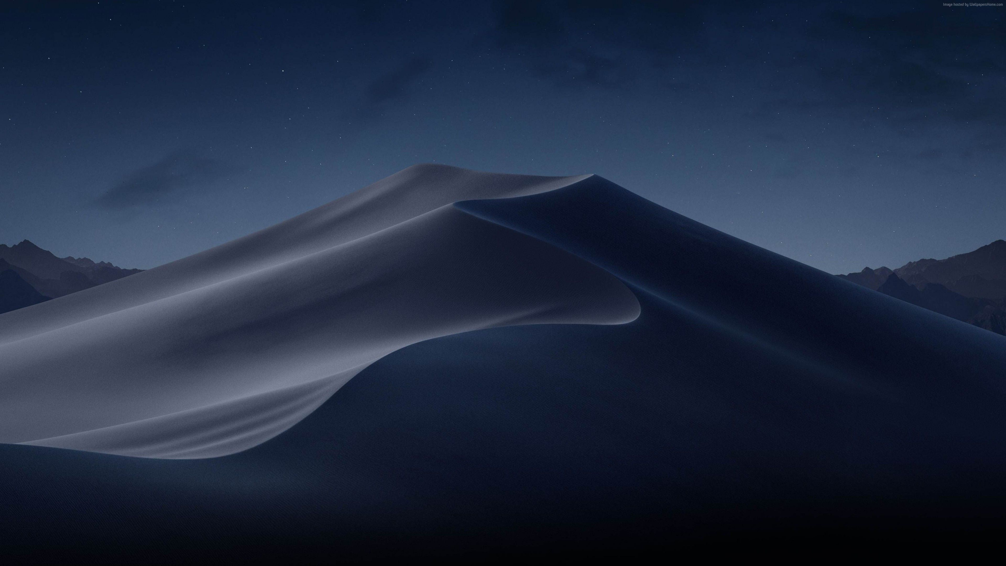 Wallpaper macOS Mojave, Night, Dunes, WWDC 2018, 4K, OS