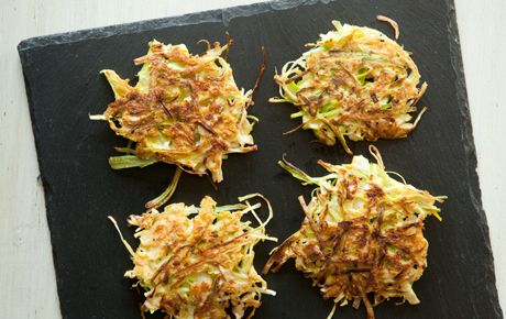 Cabbage & Leek Griddle Cakes; LC, LF, VN. (could make GF by substituting almond flour for ww flour?)
