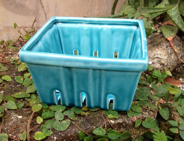 Berry Basket, ceramic, translucent aqua, strawberry basket. $24.00 ...