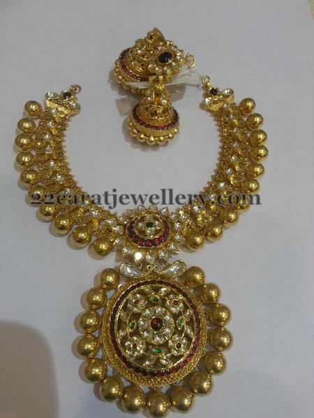 Gold Necklace with Jhumkas Gold necklaces Gold and Indian jewelry