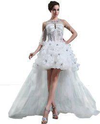 Vogue Bridal White Sweetheart Beading Organza Short Bridal Gown Wedding Dress