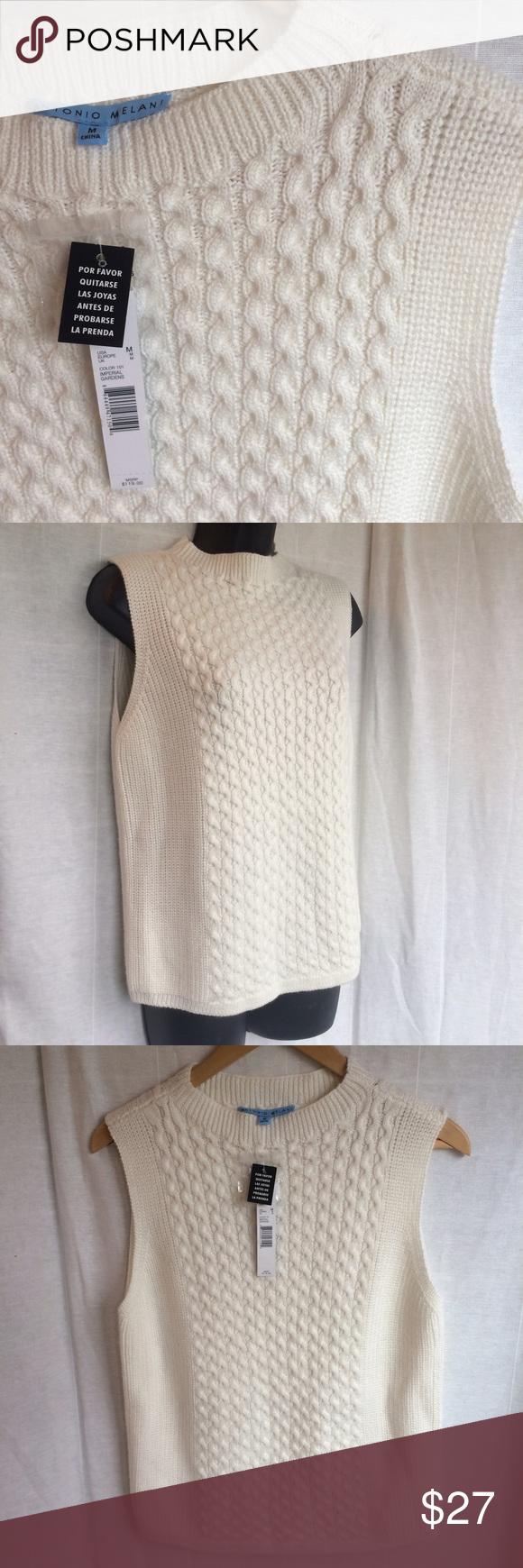 Nwt Antonio Melani Cream Cable Knit Sweater Vest Cable Knit Sweaters Sweater Vest Sweaters
