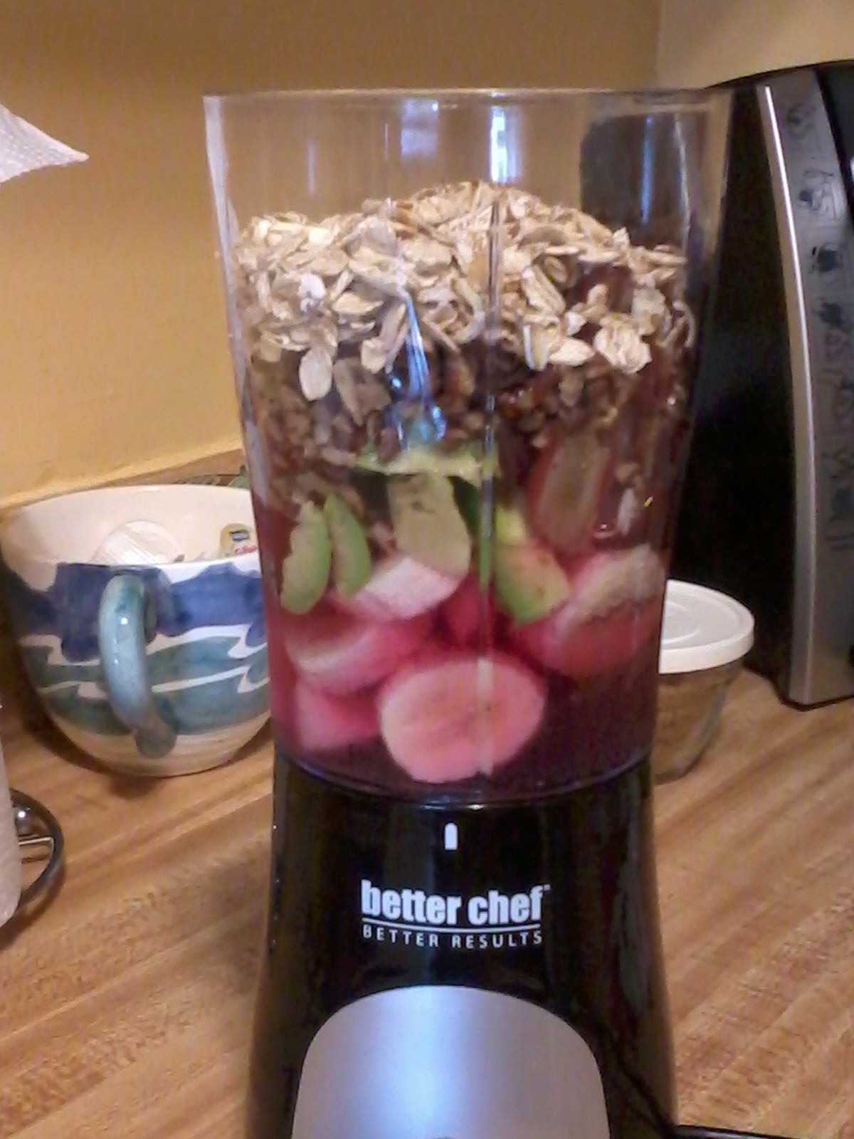 Breakfast Smoothie...Cranberry Grape Juice, Bananas, Grapes, Avocado, Chopped Pecans & OATMEAL...Charges & Fortifies ;-)