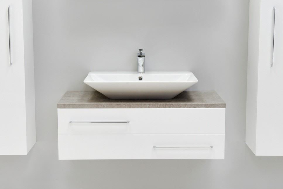 Modern Vanity Unit White Counter Top Basin White Sink Cabinet