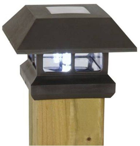 Moonrays Solar Powered Plastic Post Cap Lamp Light Lawn and