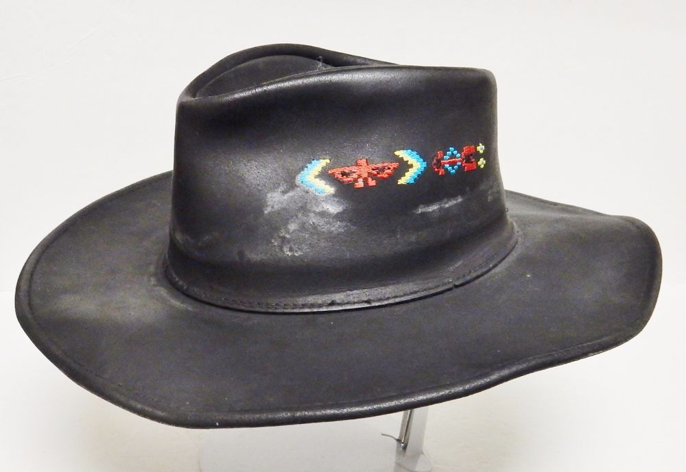 5928d3c9ed177 HENSCHEL HAT CO HH Waxed Leather Cowboy Western Thunderbird Embroidery  Black L #HENSCHELHATCO #Western