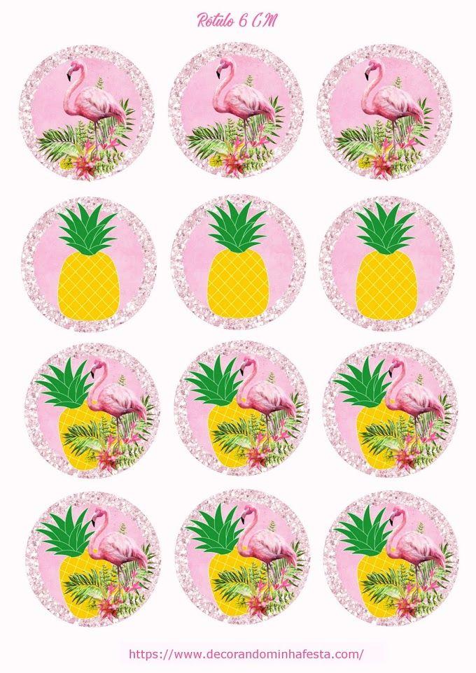 Topper Flamingo E Abacaxi Para Imprimir Gratis Com Imagens