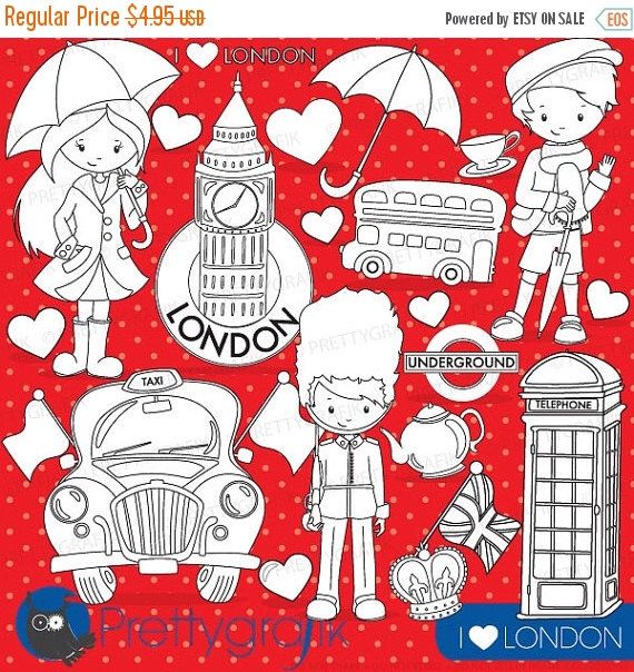 80 OFF SALE London Travel Digital Stamp Commercial Use Vector Graphics