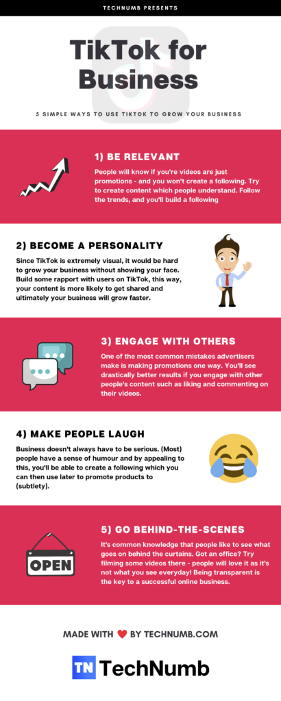 5 Ways To Use Tiktok For Business Infographic Business Infographic Marketing Strategy Business Small Business Organization
