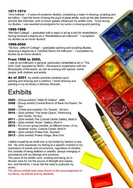 Artist Cv Cv Artistique Pupille Artiste