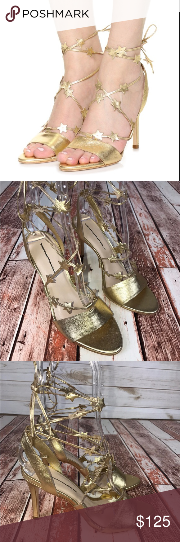 5a3d9ff9d04 NWOB Loeffler Randall Arielle Gold Metallic Heels Loeffler Randall Gold  Metallic Strappy Star Heel Size 8