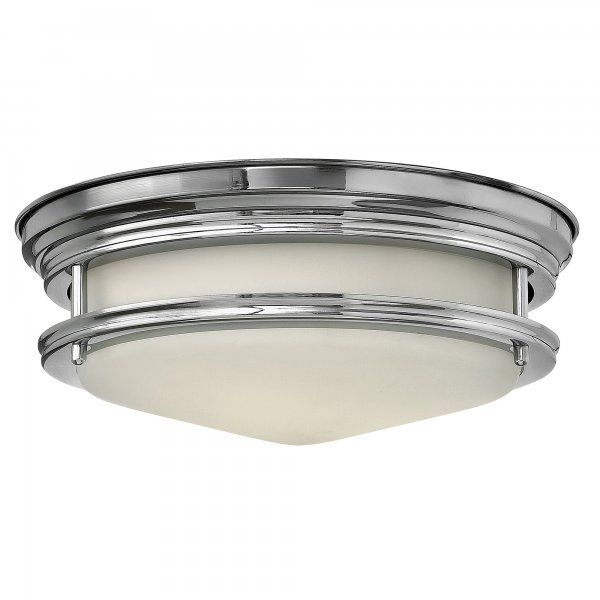 Retro flush bathroom ceiling light in polished chrome with opal glass fc bathroom lights pinterest ceiling chrome and hinkley lighting