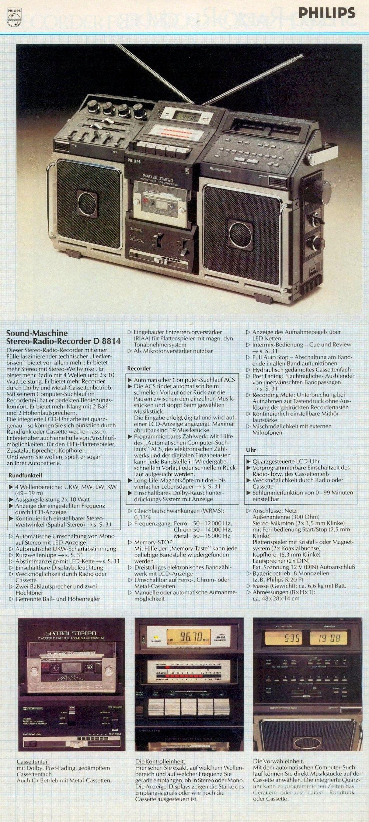 Philips D 8814 Sound Machine Stereo Radio Recorder 1982