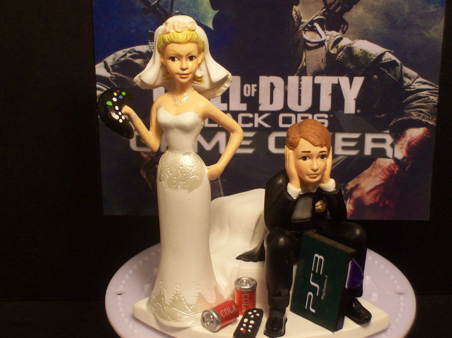Video Game Call of Duty MW3 Bride and Groom Funny Wedding Cake