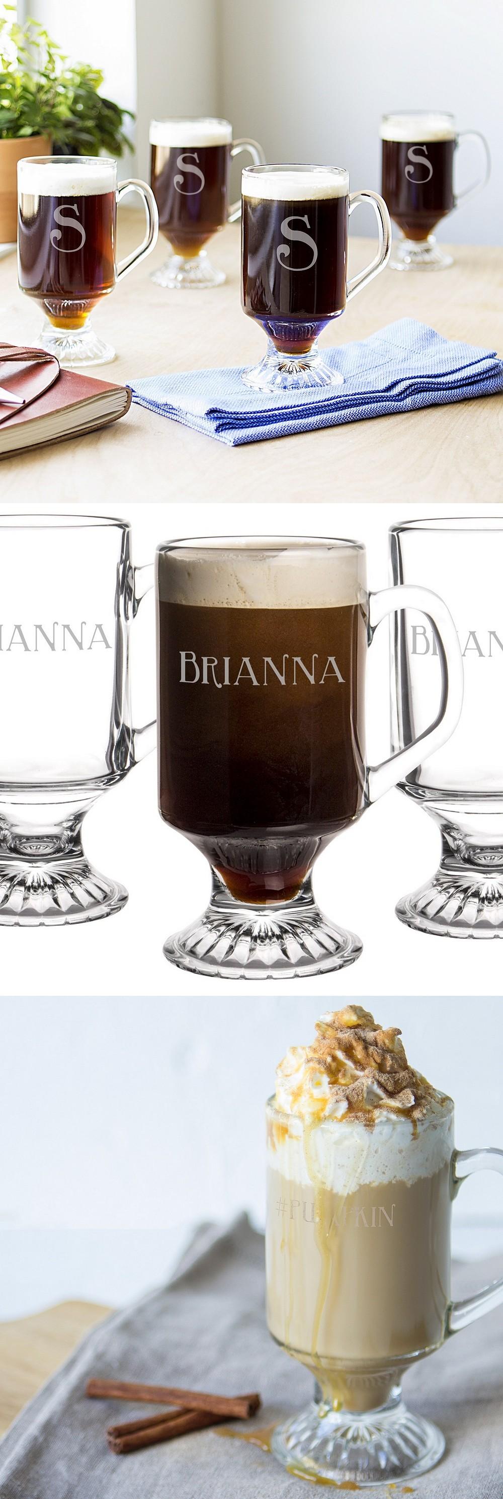 4 Pc. Personalized 10 Oz. Glass Irish Coffee Mug Set