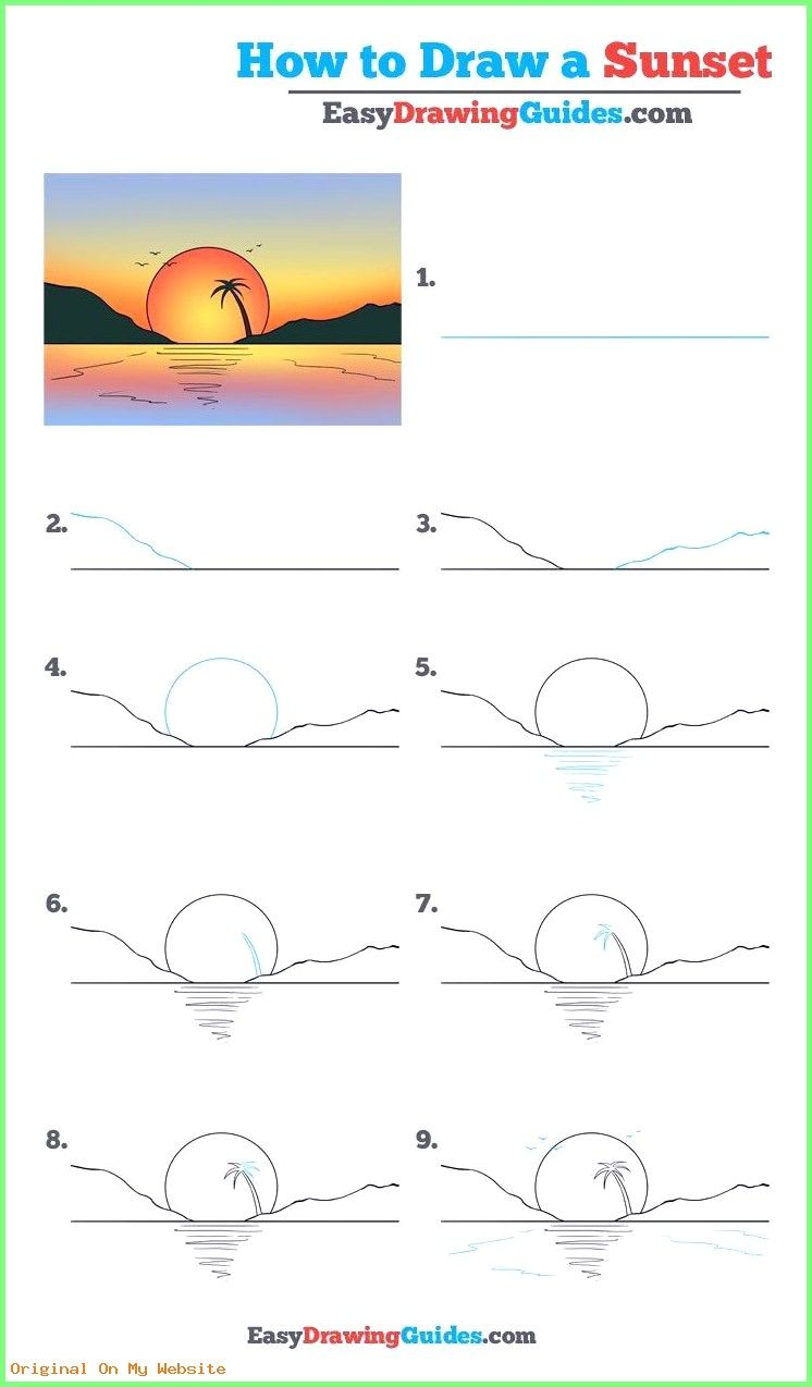 Tumblr Art Sketches Learn How To Draw A Sunset Easy Step By
