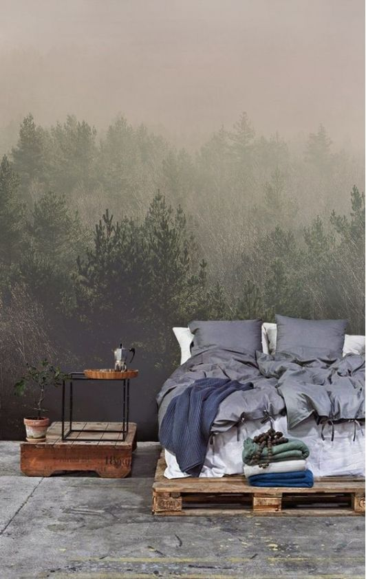 Relaxing Bedroom with Woodland Mural
