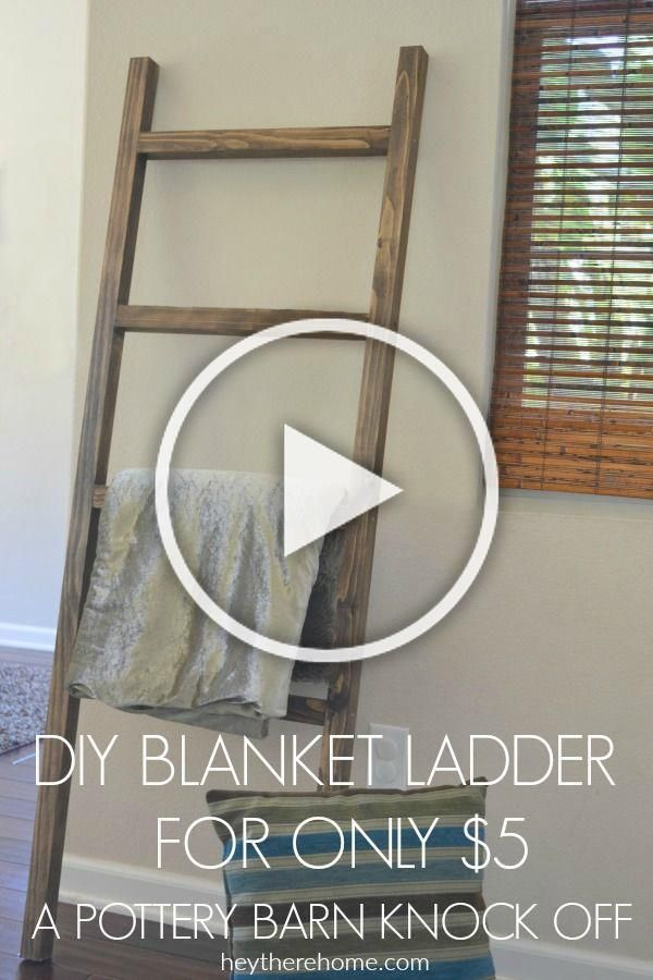 Easy DIY blanket ladder tutorial to show you how to make a blanket ladder just like the one in the Pottery Barn catalog, but for less than $10. #blanketladder #knockoffdecor #potterybarn #falldecor #winterdecor #homedecor #diyproject #woodworking #homedecorating #livingroomdecor #guestroomdecor #rusticdecor #farmhouse via @heytherehome