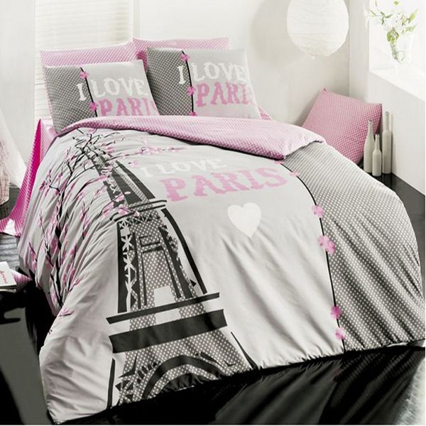 bepoe - new cotton 3pcs i love paris single twin size duvet quilt