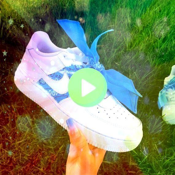 azul personalizado Air Force 1s  Zapatillas de deporte personalizadas Air Force 1s  tenis Nike  Products Pañuelo azul personalizado Air Force 1s  Zapatillas de dep...