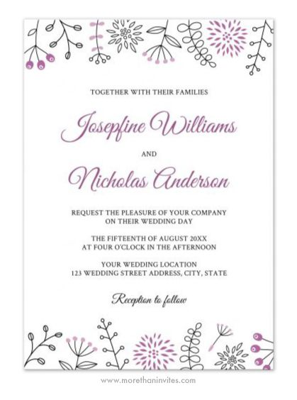 Elegant, Modern Wedding Invitation Featuring Doodle Flower And Nature  Elements As A Border Top And