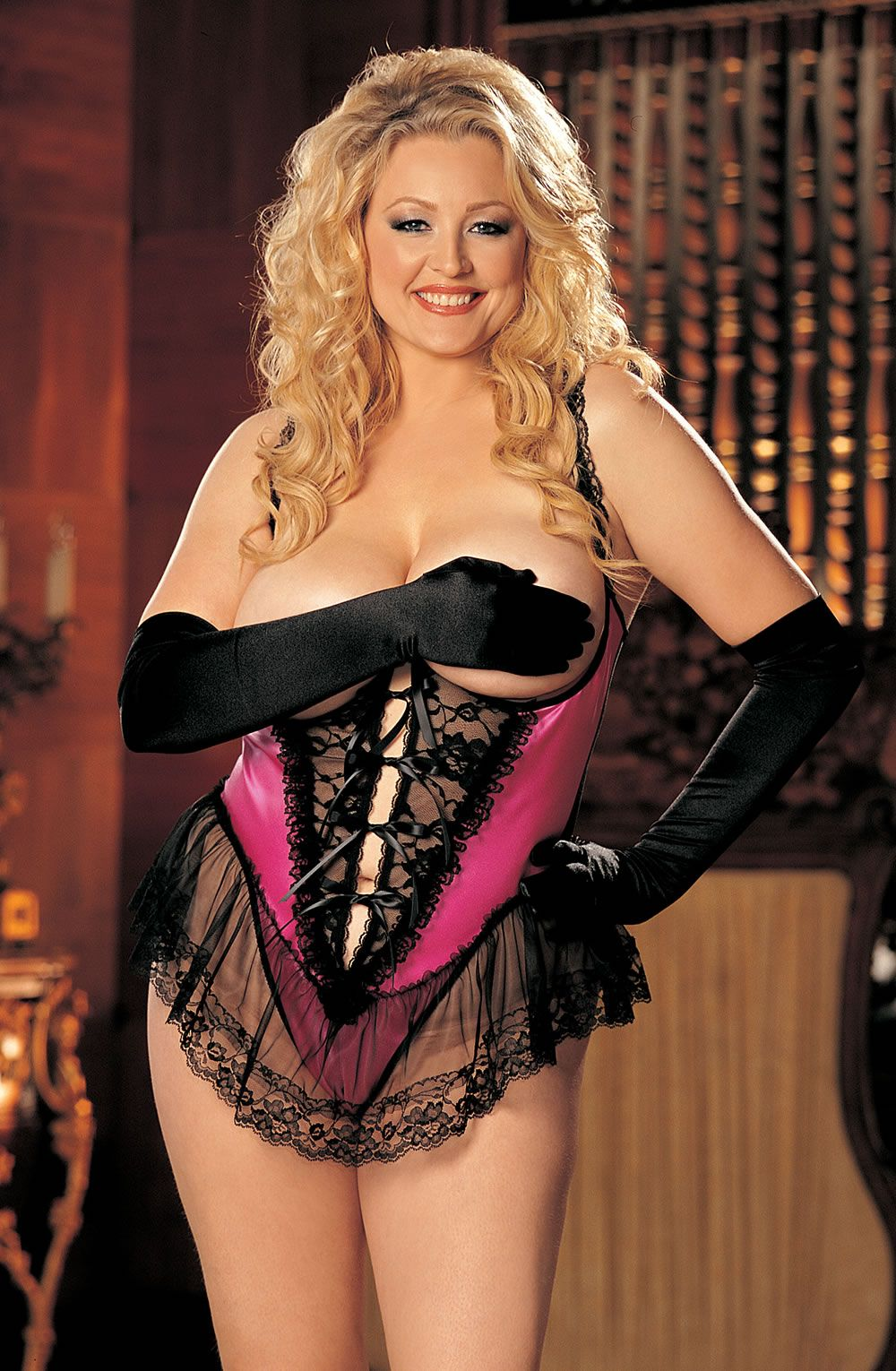 c251ec6fd5a0 Intimate Attitudes by Shirley of Hollywood - Satin Open Bust Teddy - Hot  PinkGorgeous satin and lace open bust crotchless teddy with alluring ribbon  tie ...
