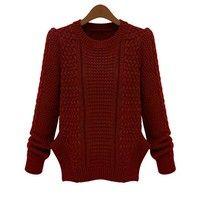 Wish   Europe Spring Women big yards twist split ends knit shirt sweater hedging