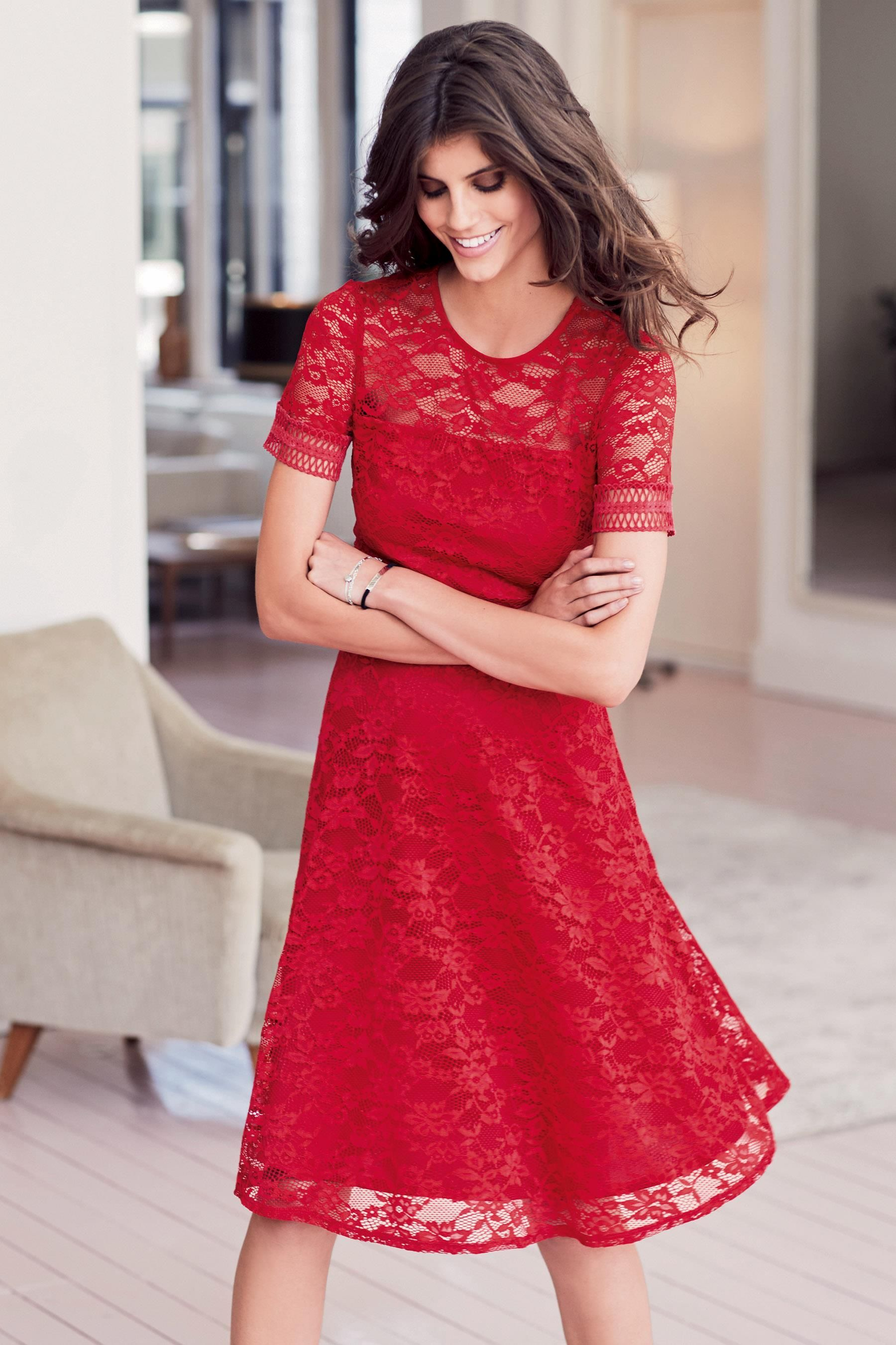 Buy Red Lace Skater Dress from the Next UK online shop ...