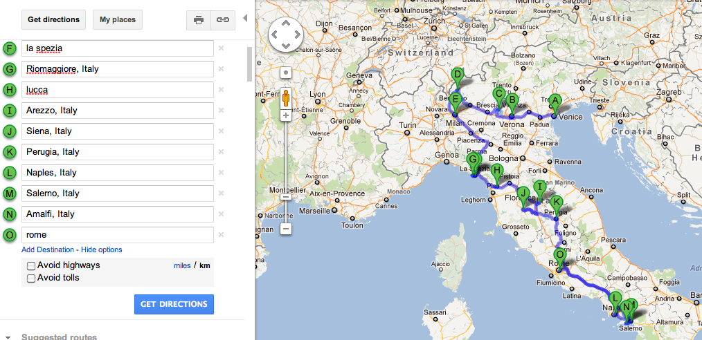 Italy Route - as of 15 April 2012  car from Verona, car car.. (<3hrs from Perugia to Naples)...drop off car before Amalfi