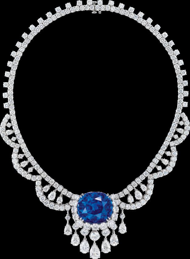 532b65fea85 Ronald Abram – 88.88 carat Cushion Cut Madagascar Sapphire and Diamond  Necklace