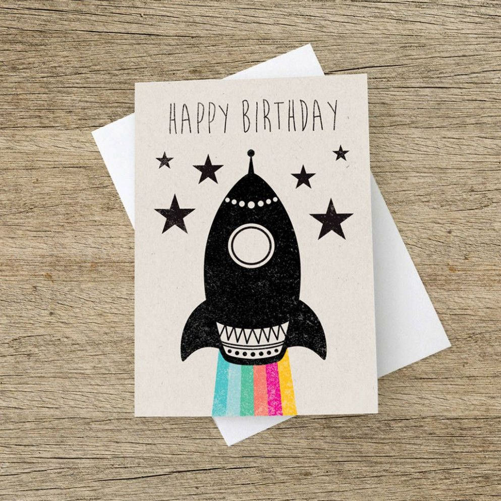 5 Ideas Rocket Birthday Card Handmade in 5  Birthday cards